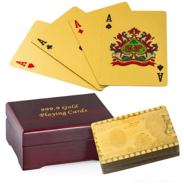 24k Pure Gold Plated Playing Cards – Wooden Gift Box