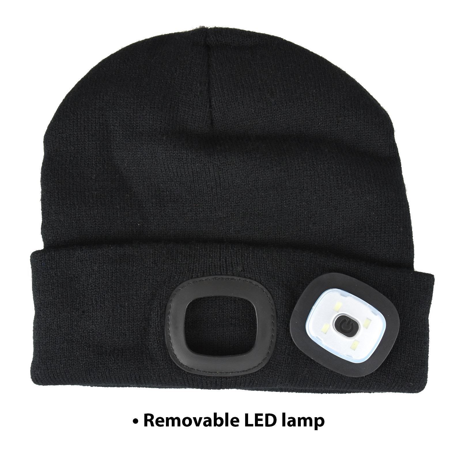 Black Knit Beanie Hat With 4 Led Shopmonk